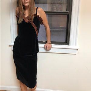 Vintage 1980s black tie velvet dress